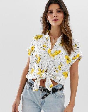 Рубашка с принтом и завязкой Abercrombie & Fitch. Цвет: белый