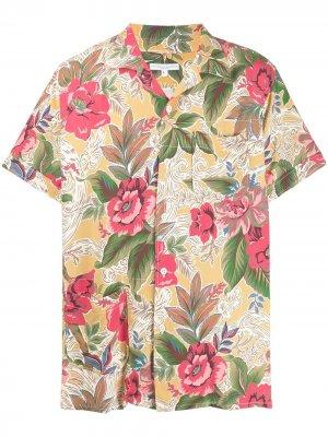 Рубашка с короткими рукавами и цветочным принтом Engineered Garments. Цвет: нейтральные цвета