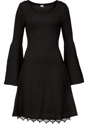 Платье вязаное bonprix. Цвет: черный