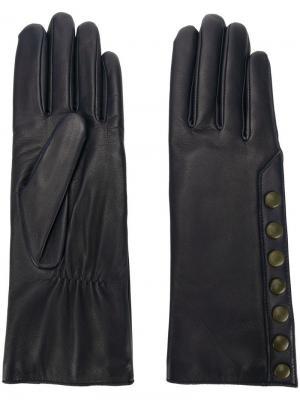 Перчатки с контрастными кнопками Agnelle. Цвет: синий