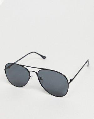 Черные солнцезащитные очки-авиаторы с надбровной планкой -Черный Selected Homme