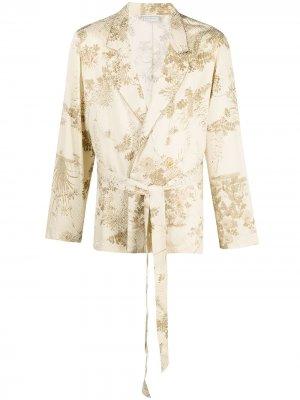 Пиджак Peonia с запахом и принтом Pierre-Louis Mascia. Цвет: нейтральные цвета