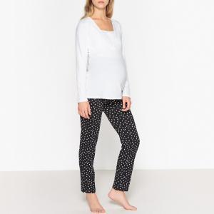 Пижама для периода беременности и грудного вскармливания LA REDOUTE MATERNITÉ. Цвет: белый/ черный
