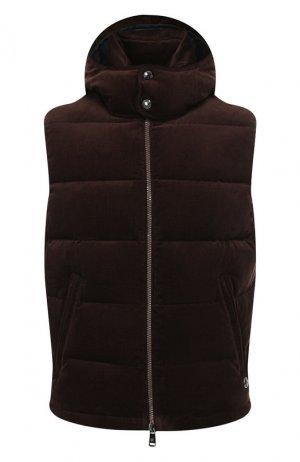 Пуховый жилет Ralph Lauren. Цвет: коричневый