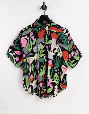 Разноцветная рубашка из экологичной вискозы EcoVero с тропическим принтом Luca-Multi Monki