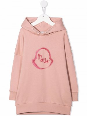 Logo-print hooded dress Moncler Enfant. Цвет: розовый