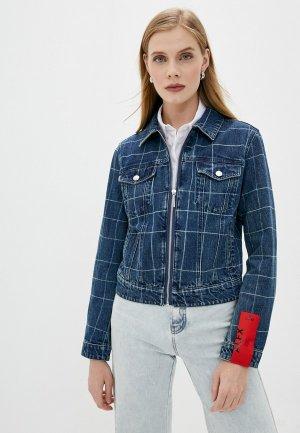 Куртка джинсовая Hugo. Цвет: синий