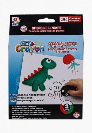Набор для творчества 1Toy Динозавр, 3 цвета по 30 г. Цвет: разноцветный