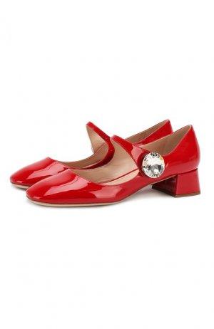 Кожаные туфли Miu. Цвет: красный