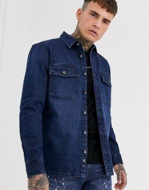 Синяя джинсовая рубашка в рабочем стиле -Синий Celio
