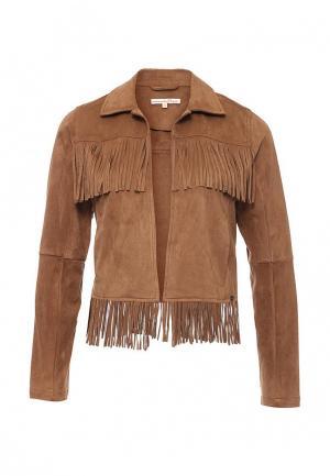 Куртка кожаная Tom Tailor Denim. Цвет: коричневый