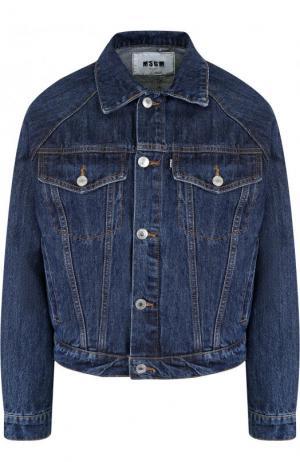 Укороченная джинсовая куртка с потертостями MSGM. Цвет: синий