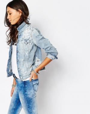 Потертая джинсовая куртка в стиле бойфренд Replay. Цвет: синий