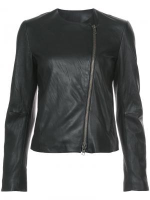 Кожаная куртка с круглым вырезом Vince. Цвет: чёрный