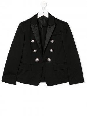 Однобортный пиджак узкого кроя Balmain Kids. Цвет: черный