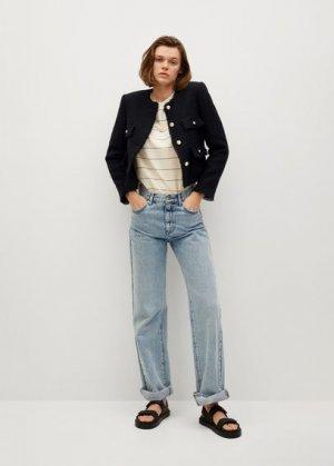 Жакет из твида с карманами - Wintour Mango. Цвет: черный