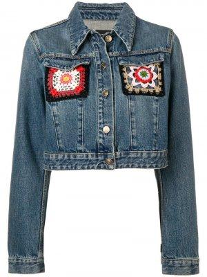 Джинсовая куртка с вышивкой Alanui. Цвет: синий