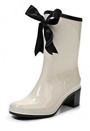 Резиновые полусапоги Boomboots WHITE&BLACK. Цвет: разноцветный