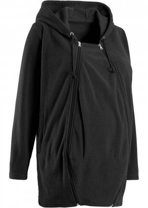 Флисовая куртка для беременных, со вставкой малыша bonprix. Цвет: черный