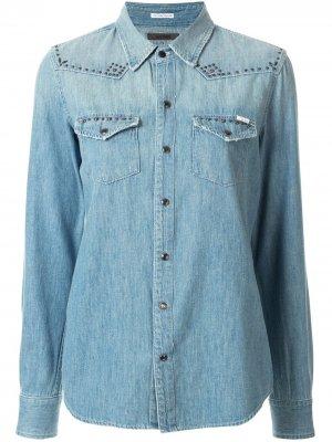 Джинсовая рубашка All My Exes Mother. Цвет: синий