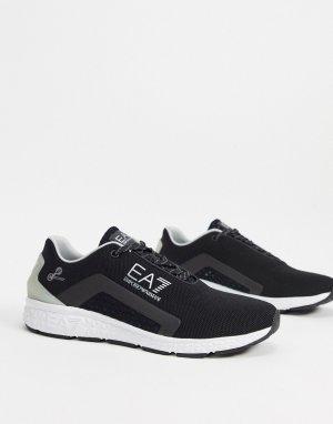 Серебристо-черные кроссовки Armani Spirit-Черный EA7