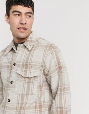 Рубашка навыпуск цвета экрю в клетку Heritage-Бежевый New Look