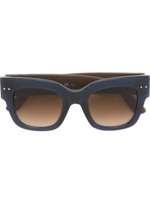 Солнцезащитные очки с квадратной оправой Bottega Veneta Eyewear. Цвет: синий
