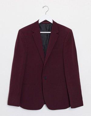 Бордовый зауженный пиджак -Красный River Island