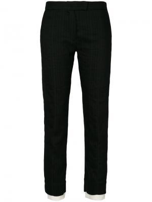 Укороченные брюки с необработанными манжетами Ann Demeulemeester. Цвет: черный