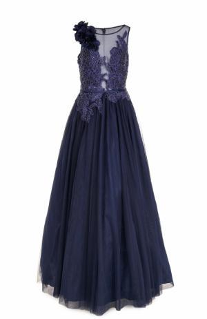 Приталенное платье-макси с вышивкой Basix Black Label. Цвет: синий