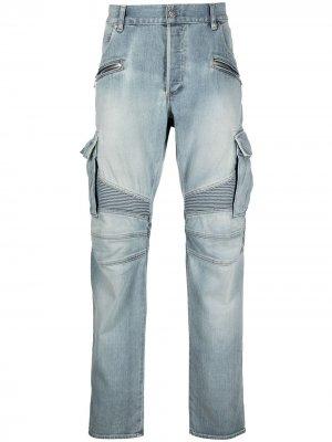 Зауженные джинсы с карманами карго Balmain. Цвет: синий