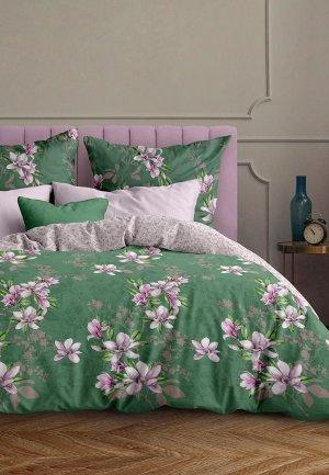 Постельное белье 1,5-спальное Mia Cara Магнолия. Цвет: зеленый