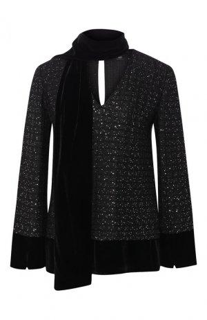 Пуловер из смеси вискозы и шерсти St. John. Цвет: черный