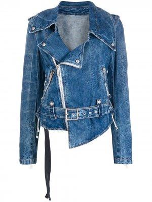 Джинсовая байкерская куртка UNRAVEL PROJECT. Цвет: синий
