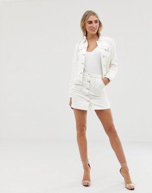 Белая джинсовая юбка с контрастными строчками -Белый Lipsy