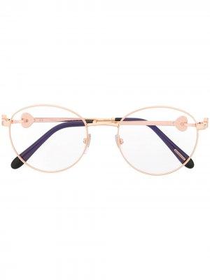 Очки в декорированной круглой оправе Chopard Eyewear. Цвет: золотистый