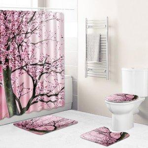 1шт Коврик для ванной или занавески душа с цветочным принтом SHEIN. Цвет: многоцветный