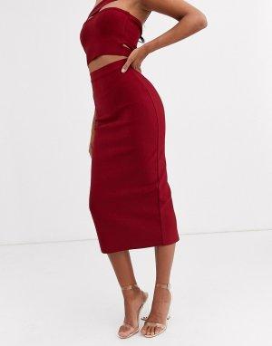 Бандажная юбка макси ягодного цвета Band Of Stars-Красный Stars