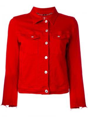 Джинсовая куртка с необработанными рукавами 7 For All Mankind. Цвет: красный