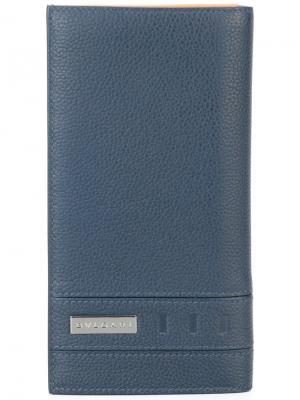 Удлиненный бумажник Bulgari. Цвет: синий