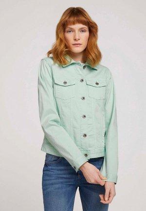 Куртка джинсовая Tom Tailor. Цвет: бирюзовый