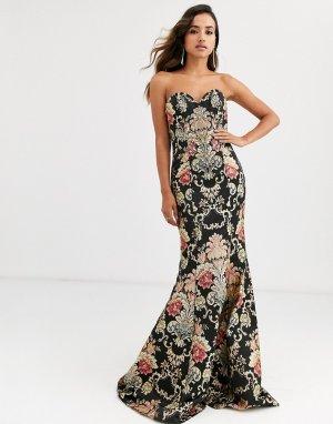 Платье с вышивкой и юбкой-годе -Мульти Jovani