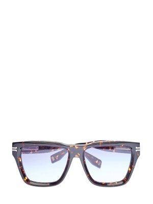 Солнцезащитные очки-вайфареры в квадратной оправе MARC JACOBS (sunglasses). Цвет: коричневый