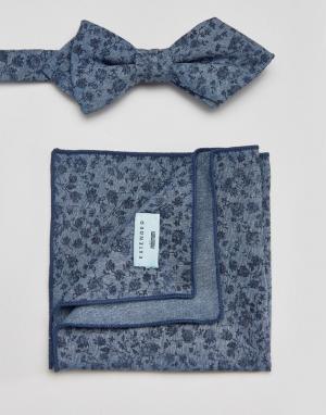 Галстук-бабочка и платок для пиджака с цветочным принтом Minimum. Цвет: синий