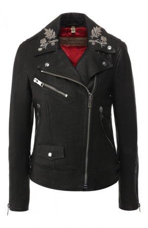 Кожаная куртка Burberry. Цвет: черный