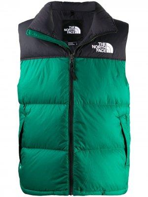 Жилет на молнии с вышитым логотипом The North Face. Цвет: зеленый