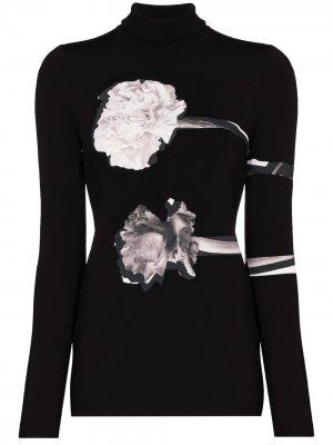 Floral-print roll-neck top Valentino. Цвет: черный