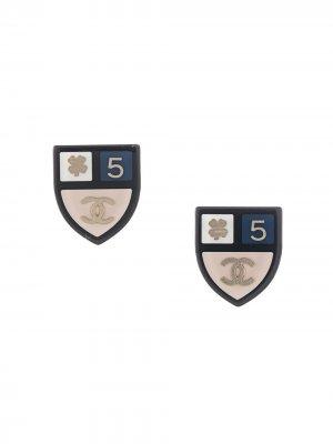 Серьги 2015-го года с логотипом CC Chanel Pre-Owned. Цвет: синий
