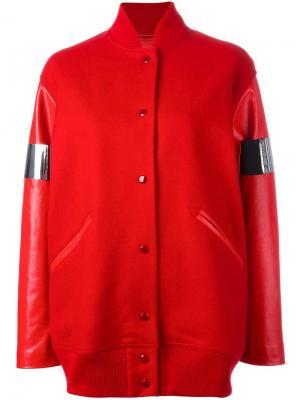 Куртка-бомбер с контрастными деталями Mm6 Maison Margiela. Цвет: красный