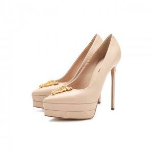 Кожаные туфли Versace. Цвет: бежевый